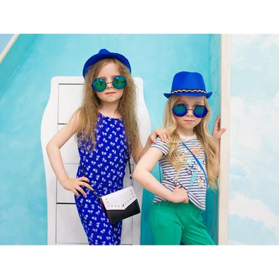 Футболка для девочки, рост 110 см, цвет синий рисунок ФБ535