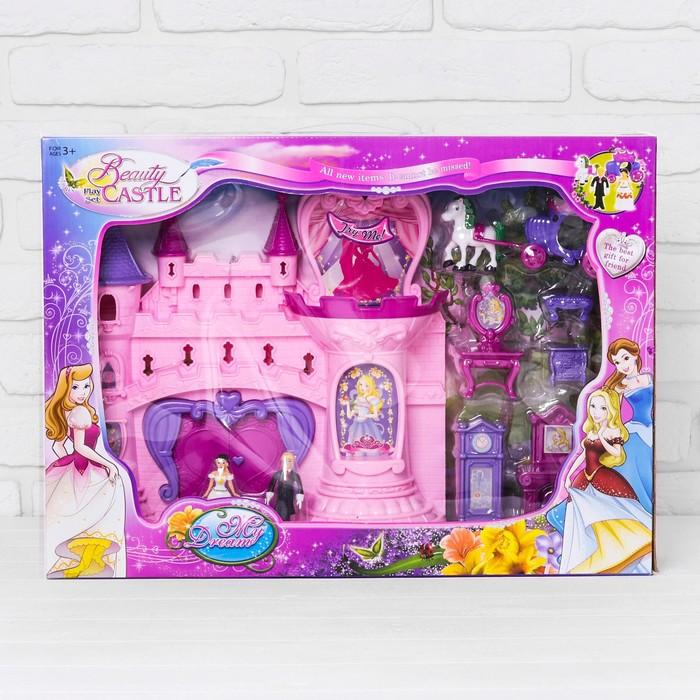 Замок для кукол с аксессуарами и танцующими фигурками, световые и звуковые эффекты