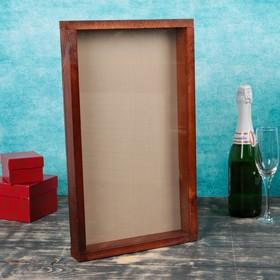 Накопитель для пробок, 48х28х5см, ХВОЯ, морёная с обычным стеклом