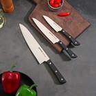 Набор ножей SAMURA HARAKIRI, поварская тройка, лезвия 10 см, 12 см, 20 см, чёрная рукоять, пластик ABS