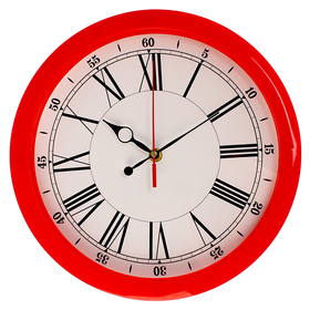Часы настенные круглые 'Классика', красный обод, 28х28 см Ош