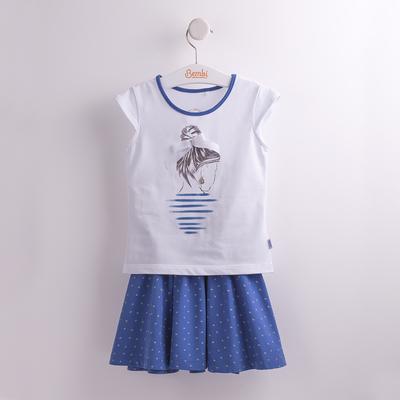 Костюм для девочки, рост 98 см, цвет синий с белым рисунком КС550