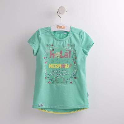 Футболка для девочки, рост 122 см, цвет зелёный ФБ534