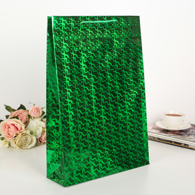 Package holography, color green, pattern MIX, 32 x 45 x 9 cm