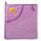 Полотенце с уголком и рукавицей, размер 90х90, цвет сиреневый, махра, хл100%