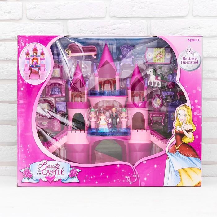 Кукольный замок раздвижной, реагирует на хлопок, с аксессуарами, со светом и звуком, работает от батареек