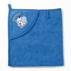 Полотенце с уголком и рукавицей, размер 90х90, цвет синий, махра, хл100%