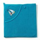 Полотенце с уголком и рукавицей, размер 90х90, цвет голубой, махра, хл100%