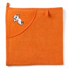 Полотенце с уголком и рукавицей, размер 90х90, цвет оранжевый, махра, хл100%