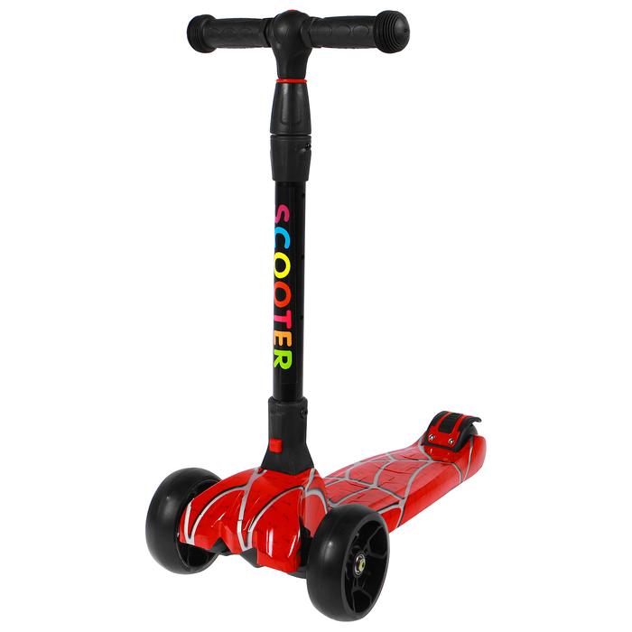 Самокат складной, колёса световые PU d=120 × 40 мм/80 × 45 мм, ABEC 7, цвет красный