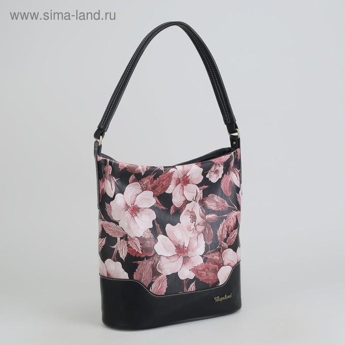 Сумка женская, отдел с перегородкой на молнии, наружный карман, цвет чёрный/розовый