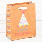 Пакет крафтовый вертикальный «Веселья в день рождения!», S 15 × 12 × 5,5 см