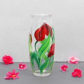 Ваза Тюльпан с росписью на проз.стекле, d-7см 10х23 см