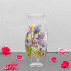 "Vase ""iris"" with decal, d-7cm, 10х23 cm"