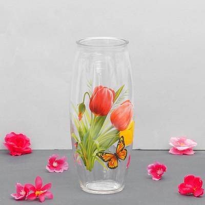 """Ваза """"Тюльпаны"""" с деколью, d-7см, 10х23 см"""