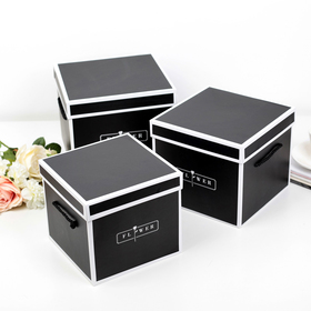 3in1 set boxes, black, 22 x 22 x 18 - 18 x 18 x 16 cm