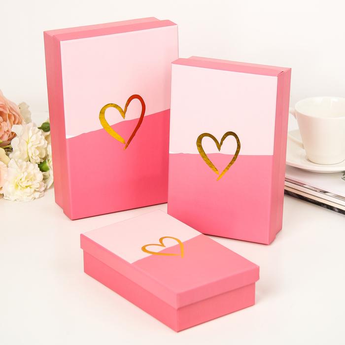 Набор коробок 3в1, 22 х 15 х 7 - 18 х 11 х 5 см