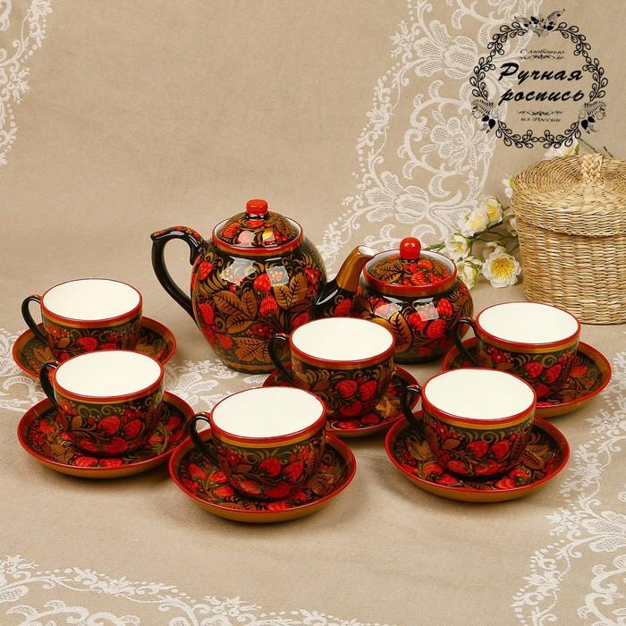 Чайный сервиз, 14 предметов: чайник 1 л, сахарница 750 мл, 6 чашек 200 мл, 6 блюдец, хохлома