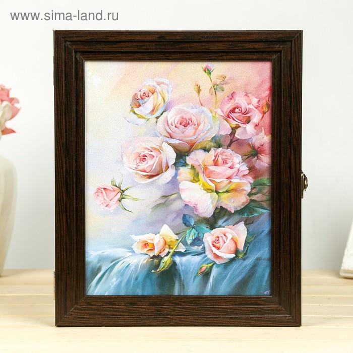 "Ключница ""Розовые розы"" Пирамида Венге 30х25х5 см"