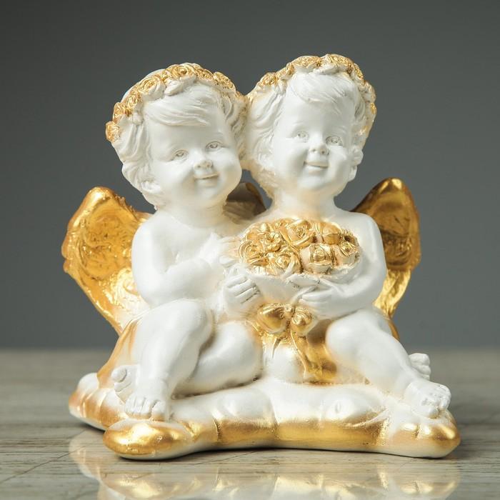 "Сувенир-статуэтка ""Пара ангелов с букетом"", 13 см"
