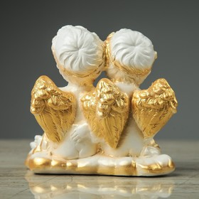 "Сувенир-статуэтка ""Пара ангелов с букетом"", 13 см - фото 1699859"