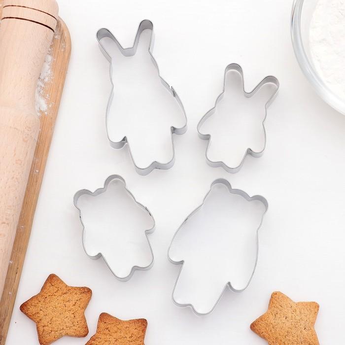 """Набор форм для вырезания печенья """"Заяц и Медведь"""", 4 шт"""