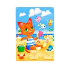 """Пазлы магнитные А6 """"Котёнок на пляже""""  3360"""