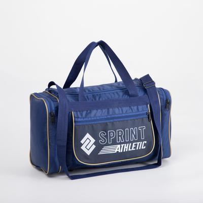 Сумка спортивная, отдел на молнии, 3 наружных кармана, длинный ремень, цвет синий/бежевый
