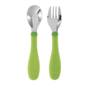 Набор столовых приборов, 2 предмета:ложка и вилка, нержавеющая сталь, от 18 мес., цвет зелёный