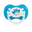 Пустышка силиконовая симметричная Owl, от 18 мес., цвет МИКС