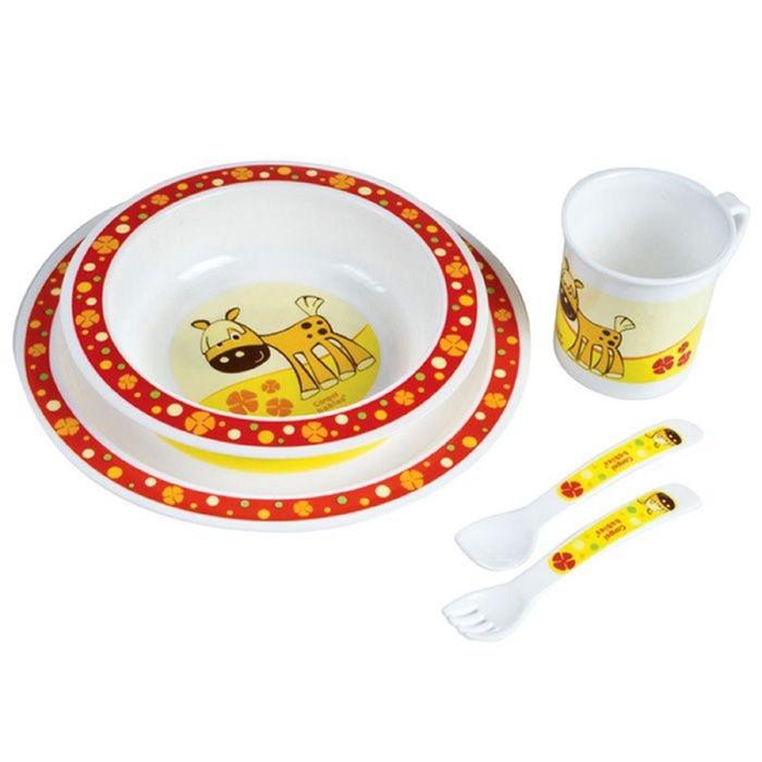 Набор детской посуды, 5 предметов: миска, тарелка, кружка, вилка и ложка, от 12 мес., цвета МИКС