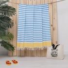 Полотенце пештемаль Turkish towel Полоса, желтый бордюр, 100х150 см, 330г/м2, хлопок 100%