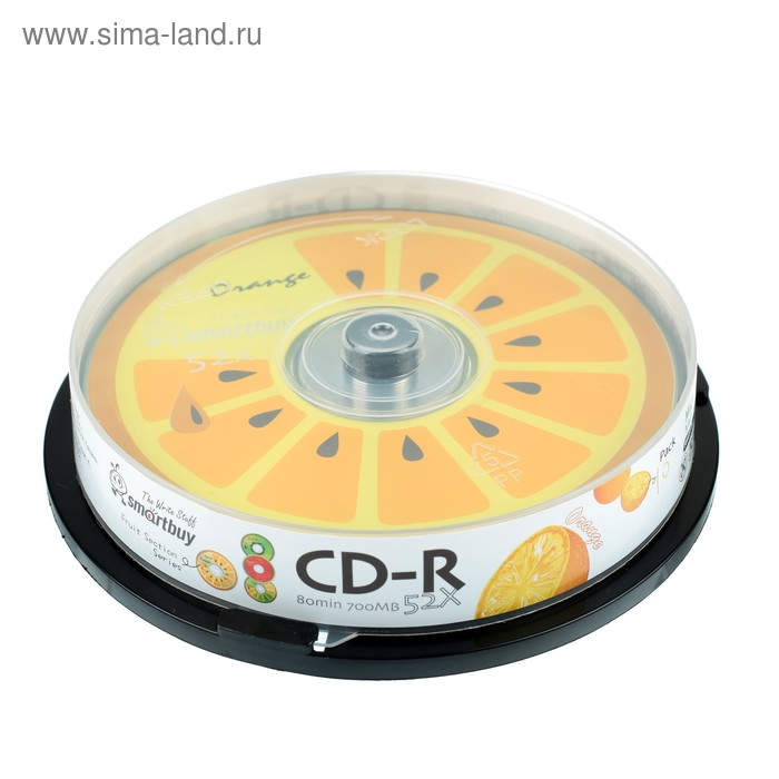 Диск CD-R Smartbuy Fresh-Orange, 52х, 700 Мб, Cake Box, 10 шт