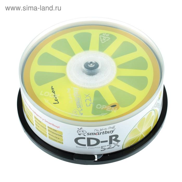 Диск CD-R Smartbuy Fresh-Lemon, 52х, 700 Мб, Cake Box, 25 шт