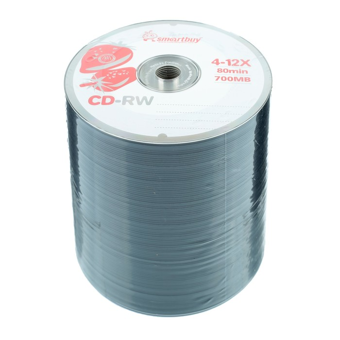 Диск CD-RW Smartbuy, 12х, 700 Мб, Спайка, 100 шт