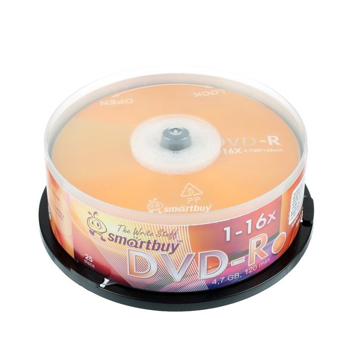 Диск DVD-R Smartbuy, 16х, 4,7 Гб, Cake Box, 25 шт