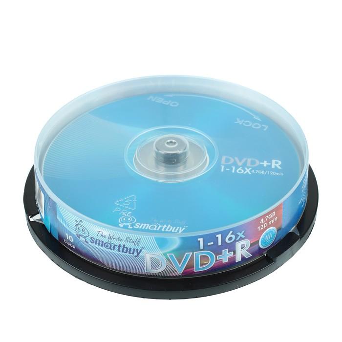 Диск DVD+R Smartbuy, 16х, 4,7 Гб, Cake Box, 10 шт