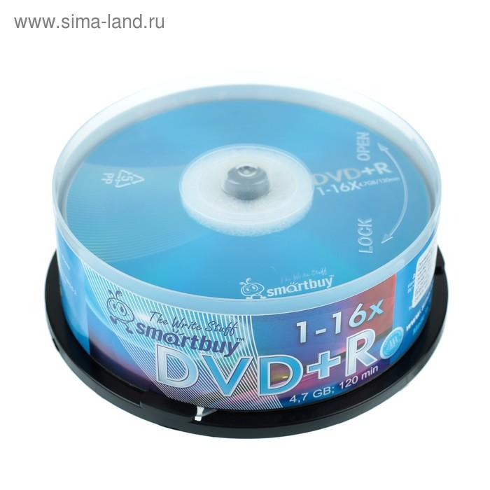 Диск DVD+R Smartbuy, 16х, 4.7 Гб, Cake Box, 25 шт
