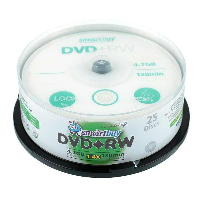 Диск DVD+RW Smartbuy, 4х, 4,7 Гб, Cake Box, 25 шт