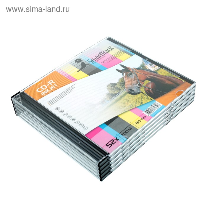 Диск CD-R SmartTrack Inkjet, 52x, 700 Мб, Slim, 5 шт