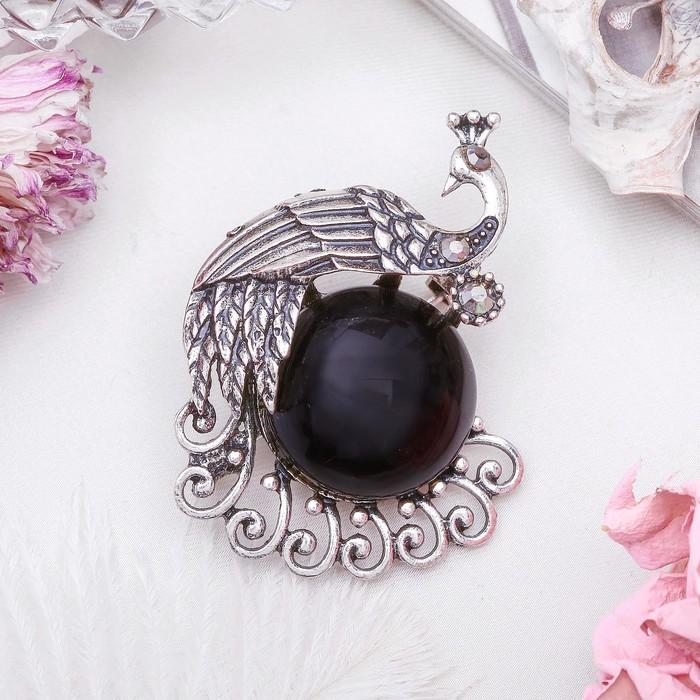 """Брошь павлинушка """"Агат чёрный"""" в чернёном серебре"""