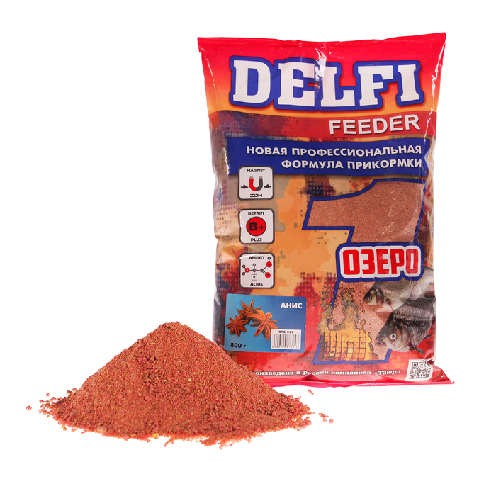 Прикормка Delfi Feeder-Озеро анис, вес 0,8 кг.
