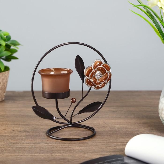 подсвечник металл 1 свеча цветок кофе с жемчужиной в круге h=17