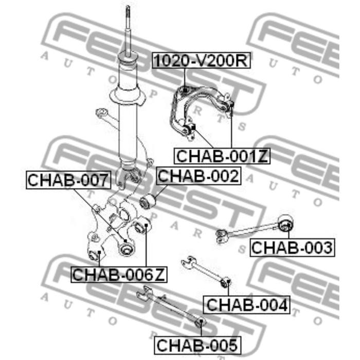 Сайлентблок задней поперечной тяги febest chab-005