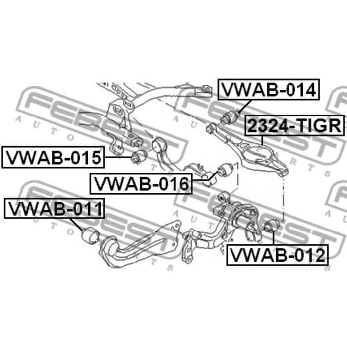 Сайлентблок задней поперечной тяги febest vwab-015