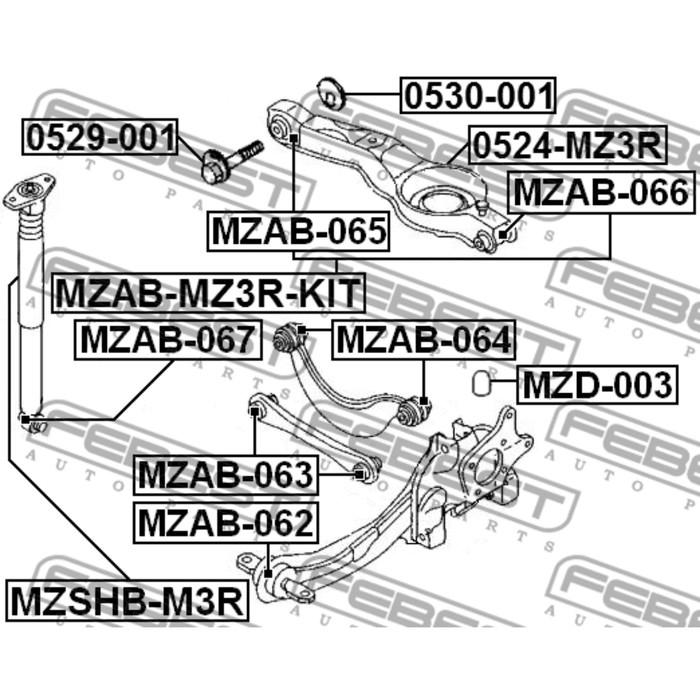 Сайлентблок задней тяги febest mzab-065