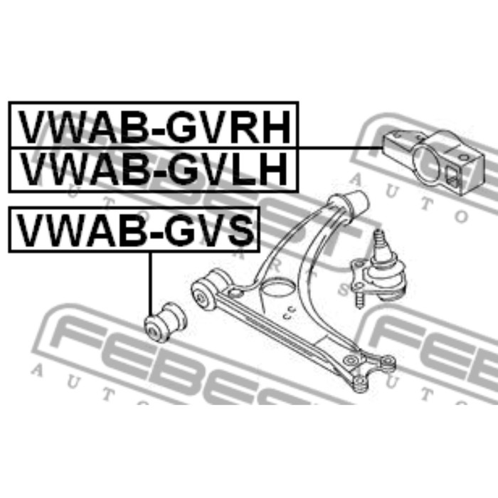 Сайлентблок задний переднего правого рычага febest vwab-gvrh