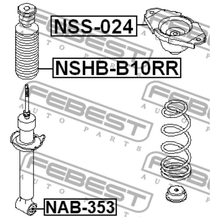 Опора заднего амортизатора febest nss-024