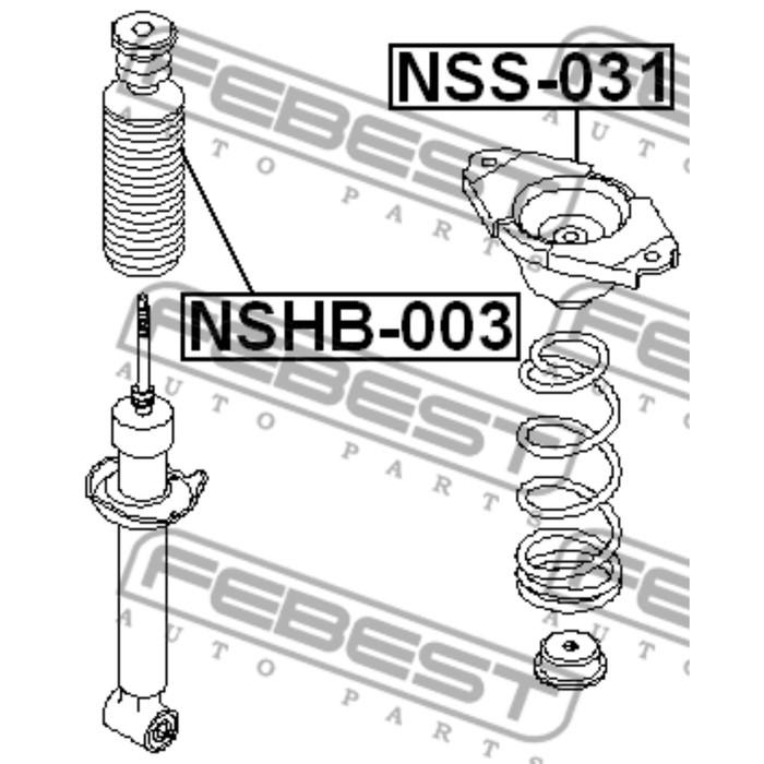 Опора заднего амортизатора febest nss-031