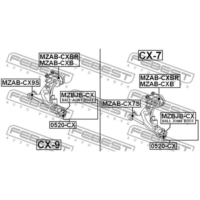 Сайлентблок задний переднего левого рычага (гидравлический) febest mzab-cxb